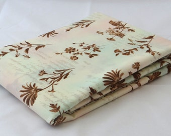 LOVE LETTERS wildflowers 3 yds Moda shabby quilt fabric cream pink aqua wash script floral vintage sewing maker 3 full yards 32038-12
