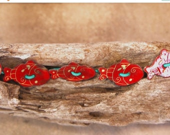 Lyme Sale Red Fish Bracelet Adorable Enamel Fish Buttons Orange-Red w Yellow Details Hand Painted Cuties on Turquoise Leather Cord Ocean Jew