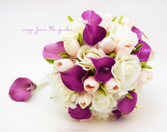 Real Touch Purple Callas Blush Pink Tulips White Roses Bridal Bouquet - Real Touch Silk Flower Bridal Bouquet - Customize for your Colors