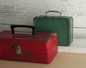 Vintage red-green metal boxes - 2 Boxes -  home decor