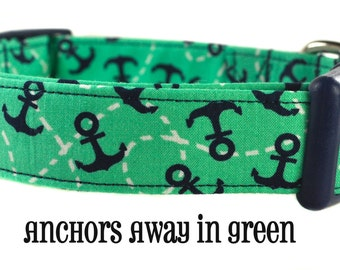 Anchors Away in Green - Green and Navy Dog Collar