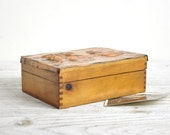 Vintage Small Wood Box, Storage Box, Rustic Wood Jewelry Box, Trinket Box, Industrial Decor