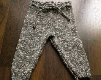 Knitted Baby Wool Pants  Hand Knit Baby Wool Cloth Diaper size 6 Months Knit Wool Baby Longies Ready To Ship