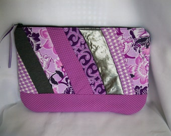 Large Patchwork Cosmetic Bag in Purples...Payton Patchwork Collection