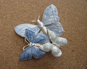 Vintage blue & green enamel triple butterfly brooch pin with silver accents