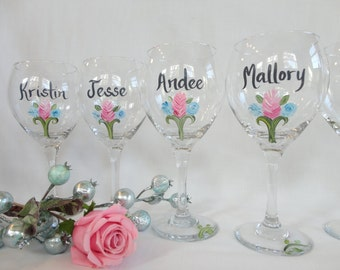 PICK YOUR FLOWERS - Hand Painted Personalized Bridal Party Wine Glasses - Gift Wrapping Available