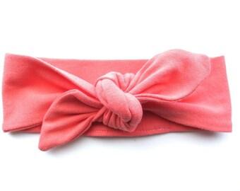Coral Baby Headband - Top Knot Headband - Stretch Headband - Vintage Style - Beach Style Modern Baby - Mango Peach Orange