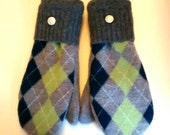 Sale Color Argyle Mittens made from recycled sweaters and lined with soft fleece. Ladies Medium.