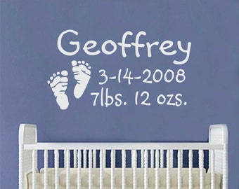 Baby Footprints Birth Decal, Vinyl Wall Lettering, Vinyl Wall Decals, Vinyl Decals, Vinyl Letters, Wall Quotes, Nursery Decal, New Baby