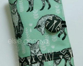 Ready to Ship Aqua & Black Foxes  Fish Spill Proof Crochet Hook Case Sewn in Zipper Pocket Clay Amour Soft Grips