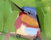 Robin no. 142 Original Bird Oil Painting by Angela Moulton 5 x 5 inch on Panel  pre-order