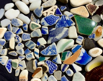 BeachSea Glass or Beach Glass of Hawaii beaches SEA POTTERY! Blue and White Mosaic Tiles and Sea Glass