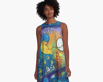 Taking Back the Night Peacock in City Women's Aline Dress Sizes XS~2XL Original Art