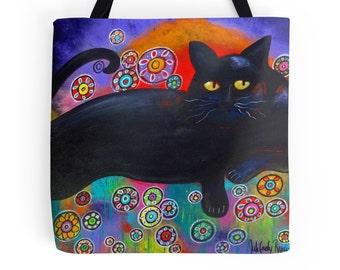 Francis Loves Flowers Original Art Black Cat 18 x 18 Tote Bag