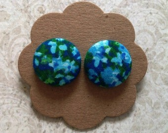 Blue and Green Floral Button Earrings M2M Necklace Gift under 20 Covered Button Earrings Stainless Steel Earrings Button Earrings