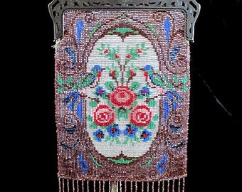 Lovely Art Nouveau Victorian/ Edwardian beaded purse with bird and flower design antique beaded purse Old Hollywood
