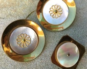 Unusual MOP and Brass Buttons Mid Century Floral Buttons