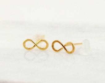 Gift - Gold Infinity Earrings - 14K Gold Fill Post Earrings