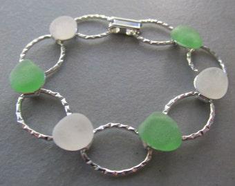 Sea Glass Bracelet, Hammered Bracelet, Beach Glass Bracelet, Green White Sea Glass, Bangle Bracelet, Gift for Her, Bracelet Jewelry