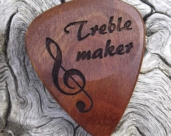 Wood Guitar Pick - Premium Quality - Handmade From Rustic California Eucalyptus - Laser Engraved On Each Side - Actual Pick Shown