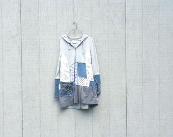 wearable art dress funky tunic   upcycled hoodie sweatshirt dress   boho   patchwork   denim   tunic dress by CreoleSha