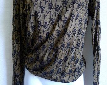 SALE  Tricot Comme des Garcons khaki stretch top with black design