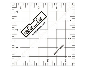 """Bloc-Loc 2.5"""" Inch Ruler - Half Square Triangle Ruler - Square Up Ruler for HST - Quilting Tool"""