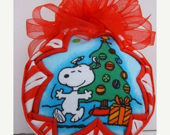Christmas In July Sale SNOOPY/Quilted Ornament/Fabric Ornament/Holiday Decor/Gift