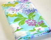 Vintage Reclaimed Fabric bed sheet bed linen Fabric retro floral tropical floral quilting fabric turquoise purple retro camper decor fabric