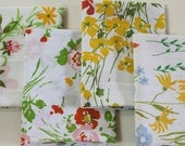 Vintage Reclaimed Fabric Fat Quarter Bundle 4 vintage Wild Flower Floral Fat Quarters reclaimed bed sheet bed linen retro shabby chic fabric