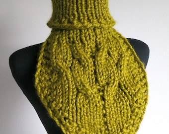 Wool Acrylic Mix Yarn Olive Khaki Green Color Knitted Cables Chunky Capelet Turtleneck Collar Dickey Gaiter Cowl