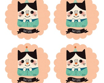 """50% OFF Set of 20 Awesome Cat - 2"""" Round Stickers - Illustration Stickers, Product Stickers, Wedding Stickers, Envelope Seals, Gift Tag"""