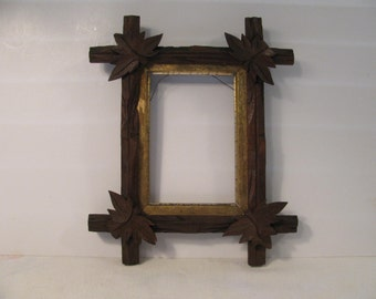 Vintage Wood Adirondack Frame -  Leaf Corners - Rustic - Gold Trim -