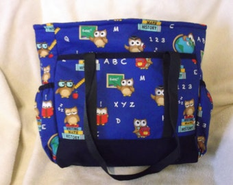 Blue Teacher's Owl Tote Bag, Book Bag