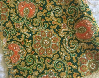 Vintage Green and Orange Paisley Cotton Fabric 1960's 1970's