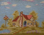 Vintage Completed Needlepoint Cottage Theme Cottage Chic Decor