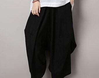 Romantic Black Pretty Linen Bud Harem pants