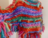 RESERVED FOR KNOTCROCHET poncho collar multicolor bright rainbows handspun handknit small poncho shoulder warmer stripes