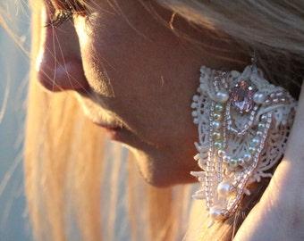 pale pink beaded lace earrings, beaded lace earrings, wedding earrings, boho dangle earrings, hippie lace earrings