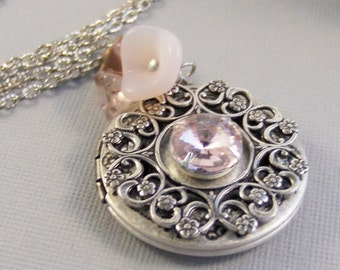 Pink Chiffon,Pink Locket,Pink,Pink Jewelry,Pink Locket,Locket,Silver Locket,Pink Necklace,October Birthstone,October valleygirldesigns.