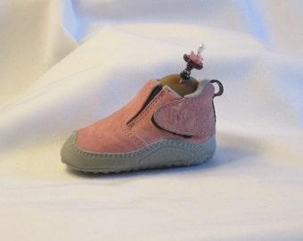 Handmade Pincushion - Pink Suede Shoe - My Left Foot - Chocolate