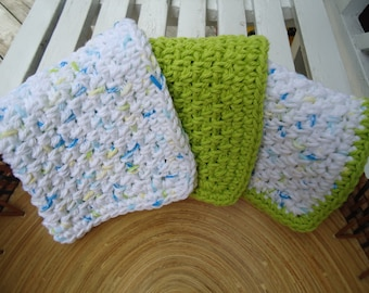 Set of Three Handmade Washcloths or Dishcloths in Green, Blue. Yellow and white