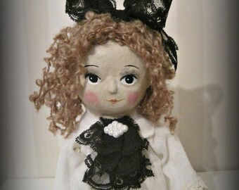Victorian doll, cloth and clay, folk art OOAK art doll