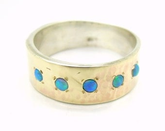 Opal ring with hammered yellow gold & silver