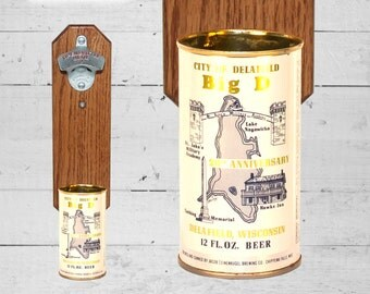 Sister Gift Delafield Wisconsin Wall Mounted Bottle Opener with Vintage Beer Can Cap Catcher - Gifts for Groomsmen
