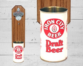 Brother Gift Iron City Wall Mounted Bottle Opener with Vintage Draft Beer Can Cap Catcher