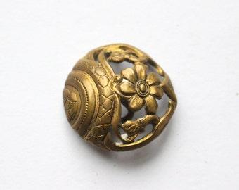 Antique Art Nouveau Open Work Brass Button
