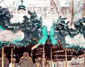 Carousel in Bryant Park- New York City Photography- Gold Teal Wall Art- NYC Art- Nursery Decor