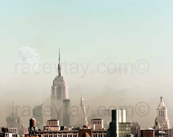 Photo of Manhattan Skyline, New York City Print, Pastel, Blue, Beige, New York Photography, Large Wall Art