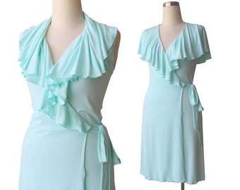 Summer dress, Womens dress, Plus size dresses, Mint dress, Custom sleeveless dress, V neck dress, Wrap dress, Shawl collar dress